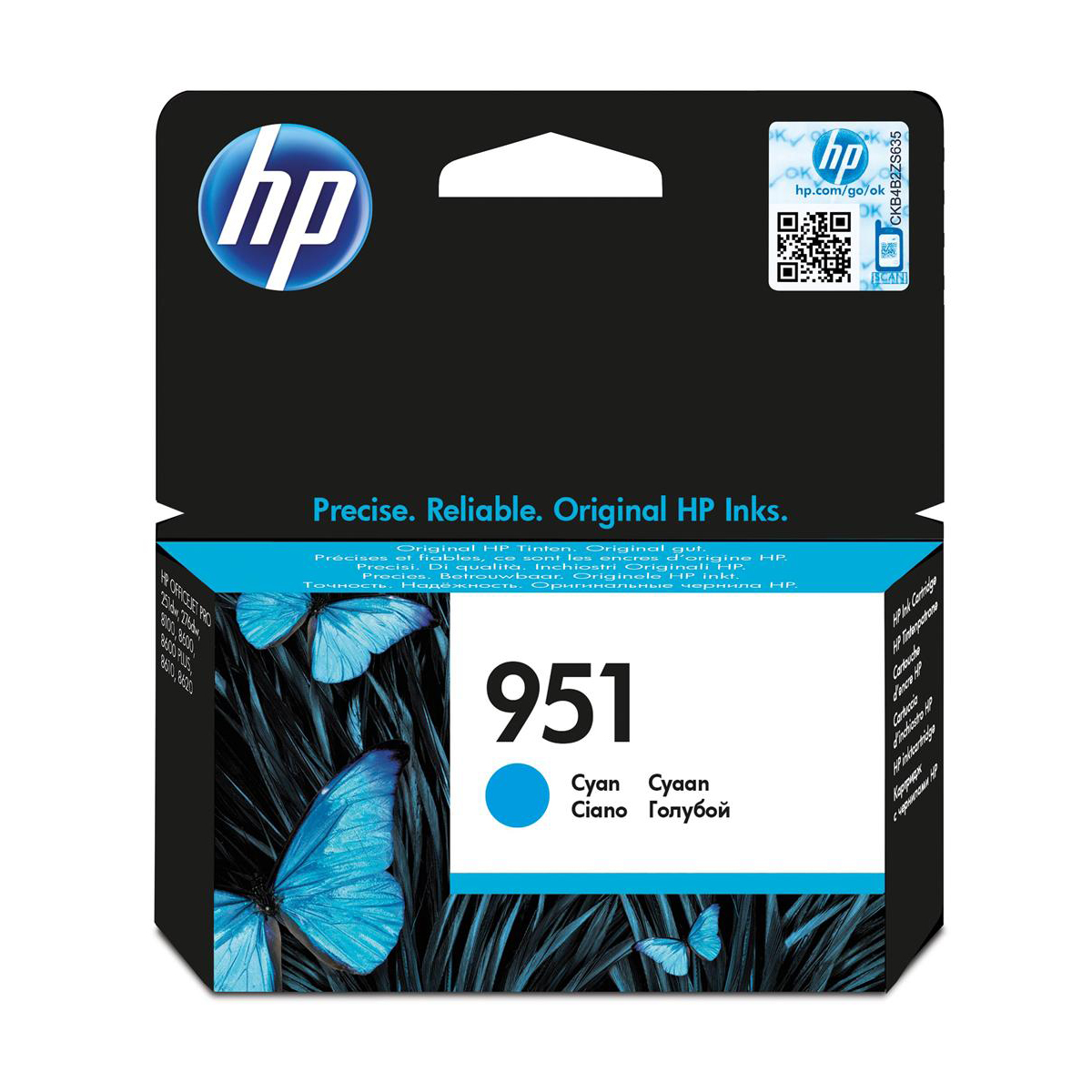 Hewlett Packard[HP] No.951 Inkjet Cartridge Page Life 700pp Capacity 8.5ml Cyan Ref CN050AE