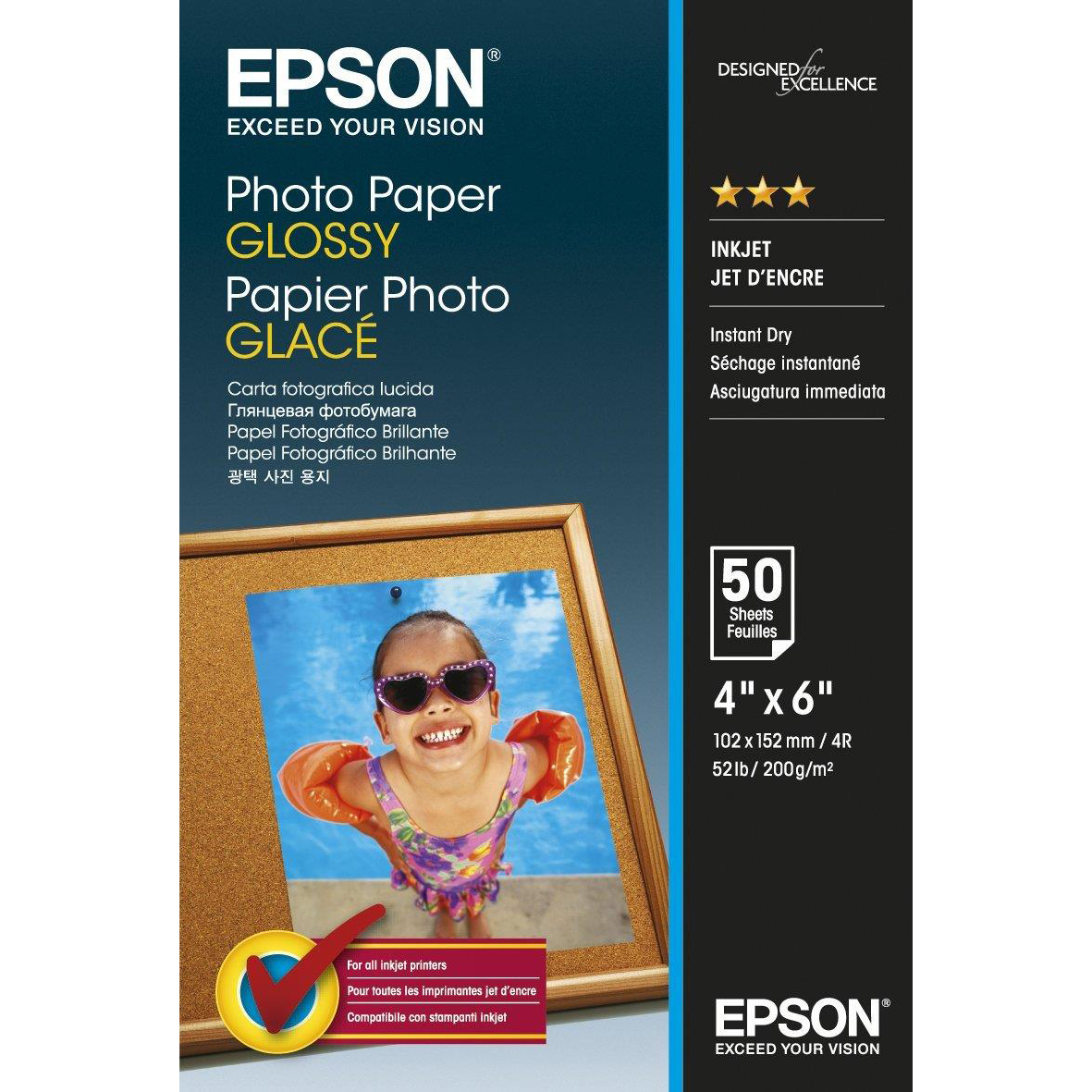 Epson Premium Photo Paper Gloss 200gsm 100x150mm Ref C13S042547 [50 Sheets]