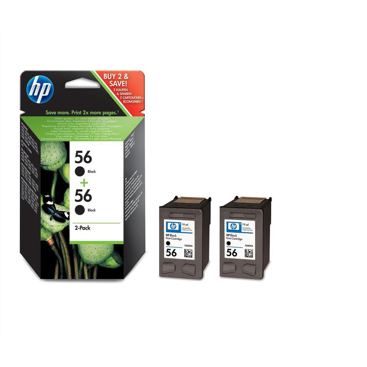 Hewlett Packard HP No.56 Inkjet Cartridge Page Life 520pp 19ml Black Ref C9502AEPack 2