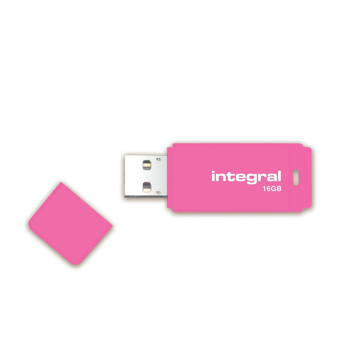 Pen or flash drive Integral Neon USB Drive 2.0 Capacity 16GB Pink Ref INFD16GBNEONPK
