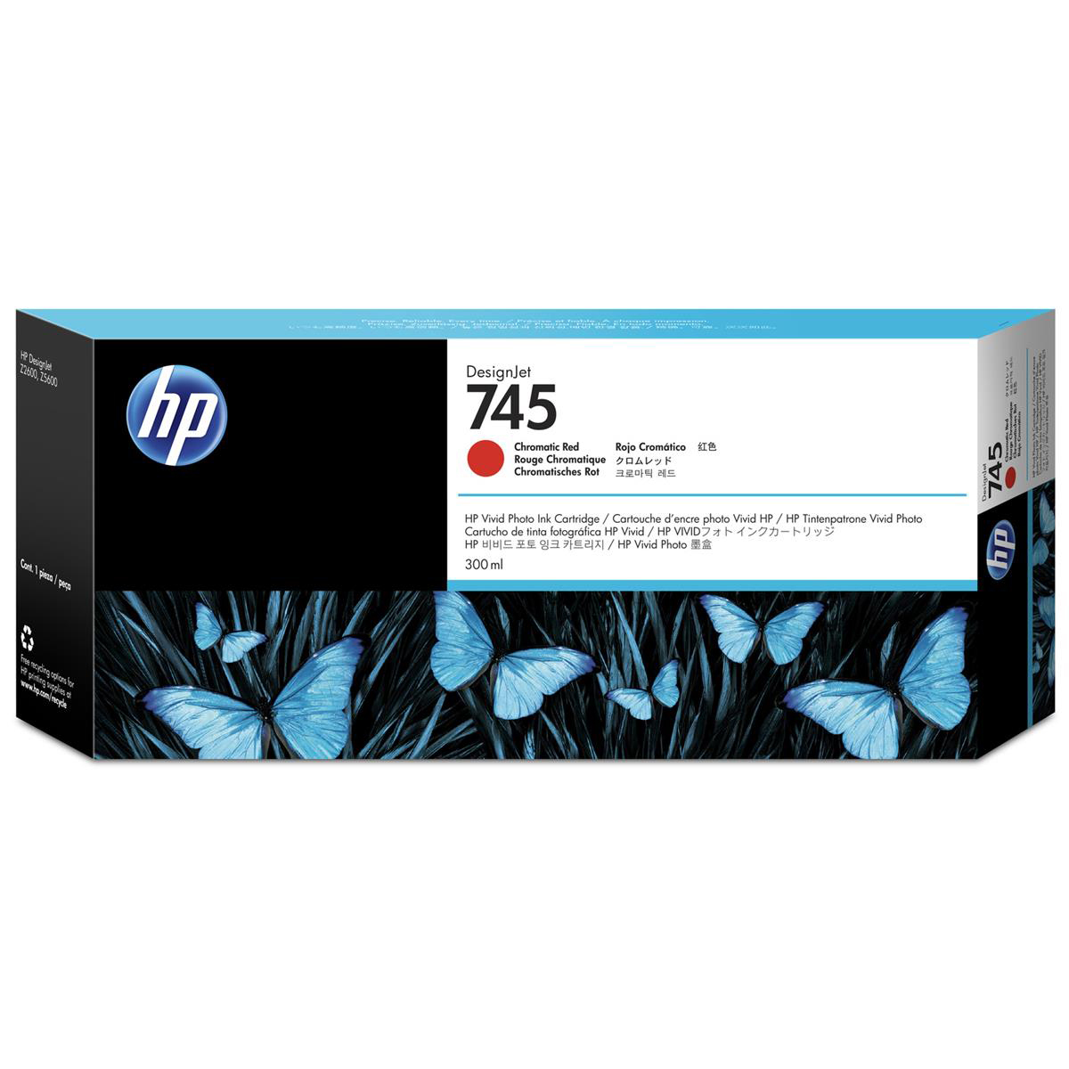 HP 745 300ml DesignJet Chromatic Red Ink Cartridge F9K06A *3 to 5 Day Leadtime*