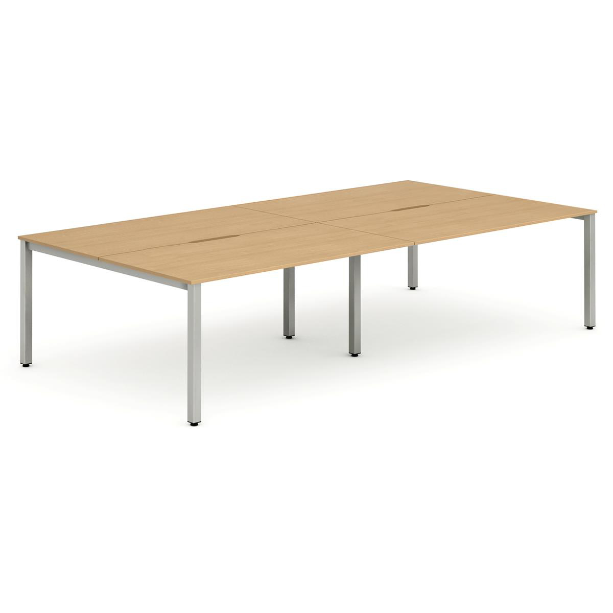 Trexus Bench Desk 4 Person Back to Back Configuration Silver Leg 2400x1600mm Beech Ref BE187