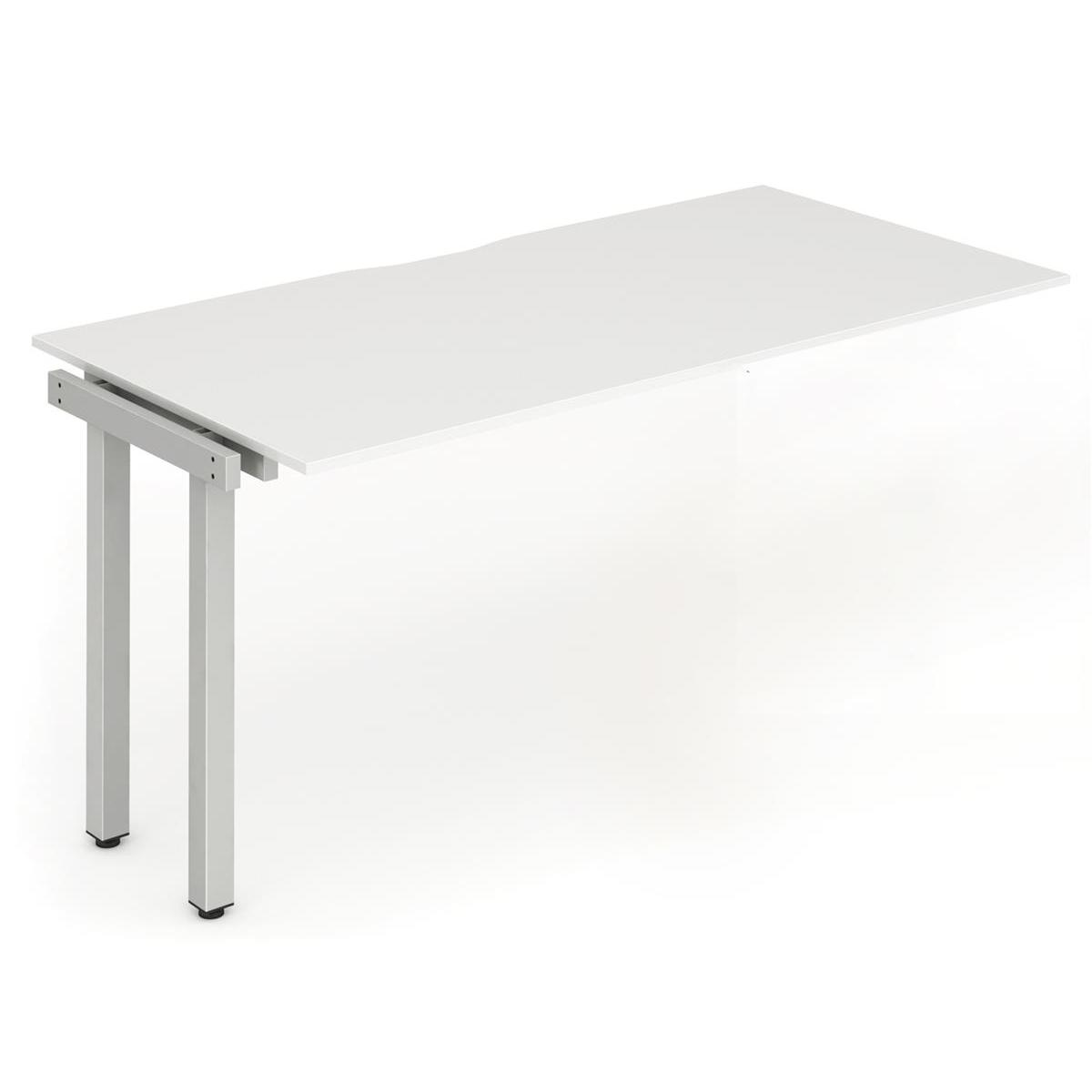 Trexus Bench Desk Single Extension Silver Leg 1400x800mm White Ref BE335