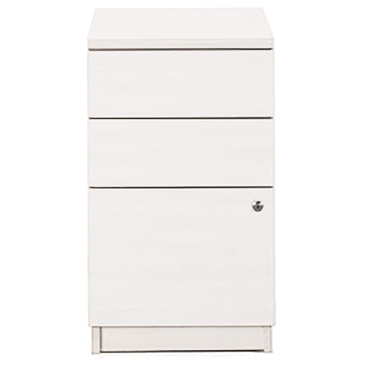 Sonix Desk High 3 Drawer 600D Pedestal 430x600x730mm Polar White Ref w9681wh