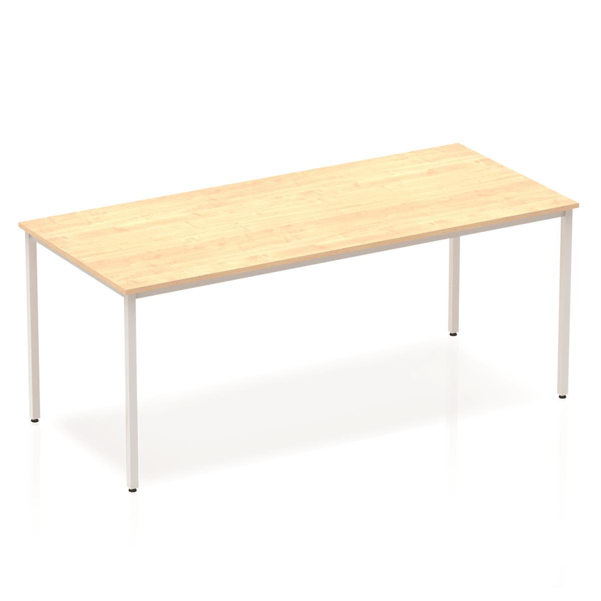 Trexus Rectangular Box Frame Silver Leg Table 1800x800mm Maple Ref BF00157