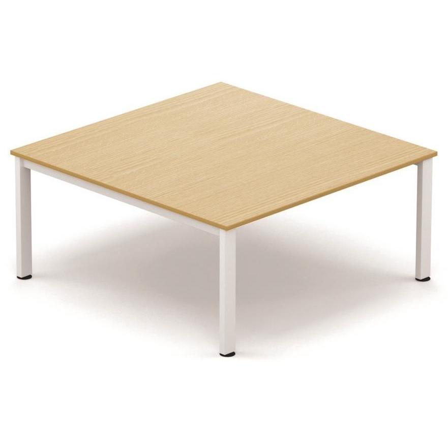 Sonix Meeting Table White Legs 1600x1600mm Oak Ref fb1616mtowh