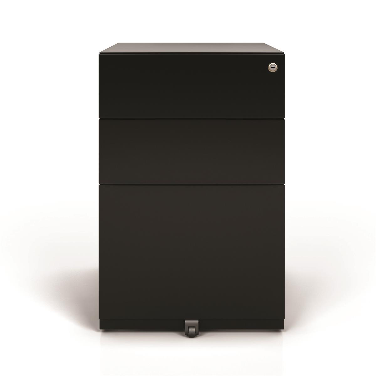 Pedestals Sonix 3 Drawer Tall Under Desk Filing Pedestal 420x565x645mm Black Ref NWA52M7SSF-av1