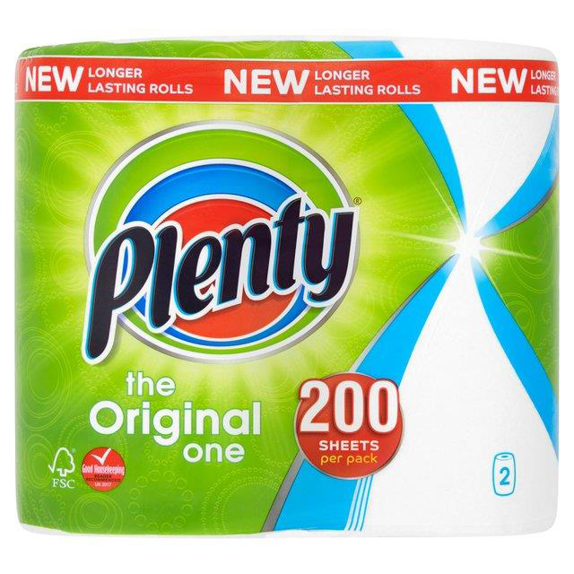 Plenty Double Kitchen Roll 100 Sheet Roll Ref BOUNTYN Pack 2