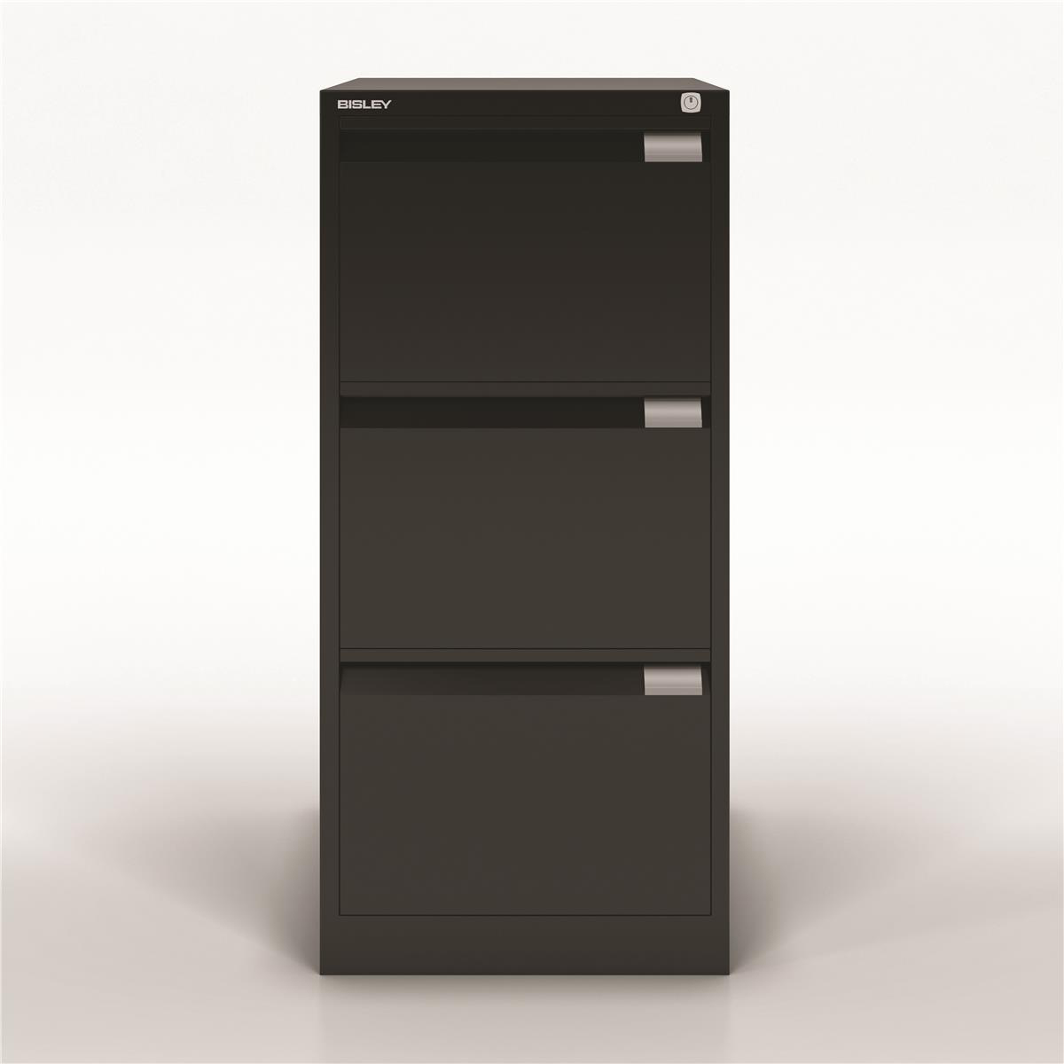 Bisley Filing Cabinet 470x622x1016mm 3 Drawer Black Ref 1633-av1