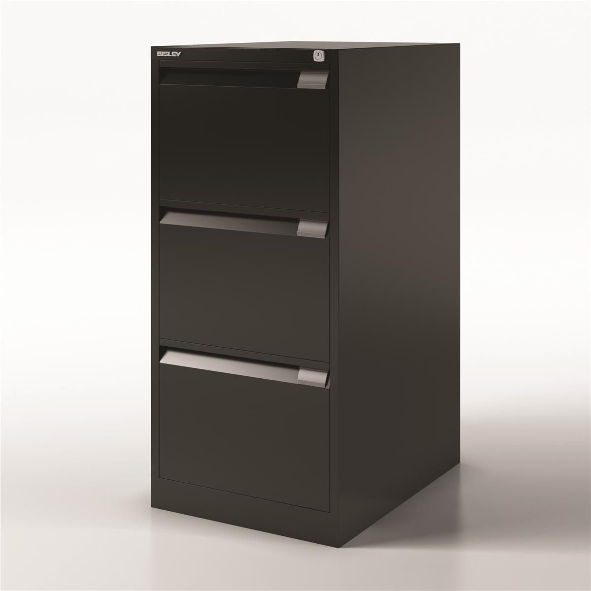 Bisley Filing Cabinet 470x622x1016mm 3 Drawer Black Ref 1633-av1