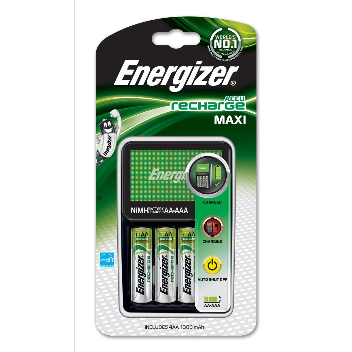 Energizer 1300 Maxi Battery Charger CHVCM4 for AA AAA with 4x AA 2000mAh Batteries Ref 632325