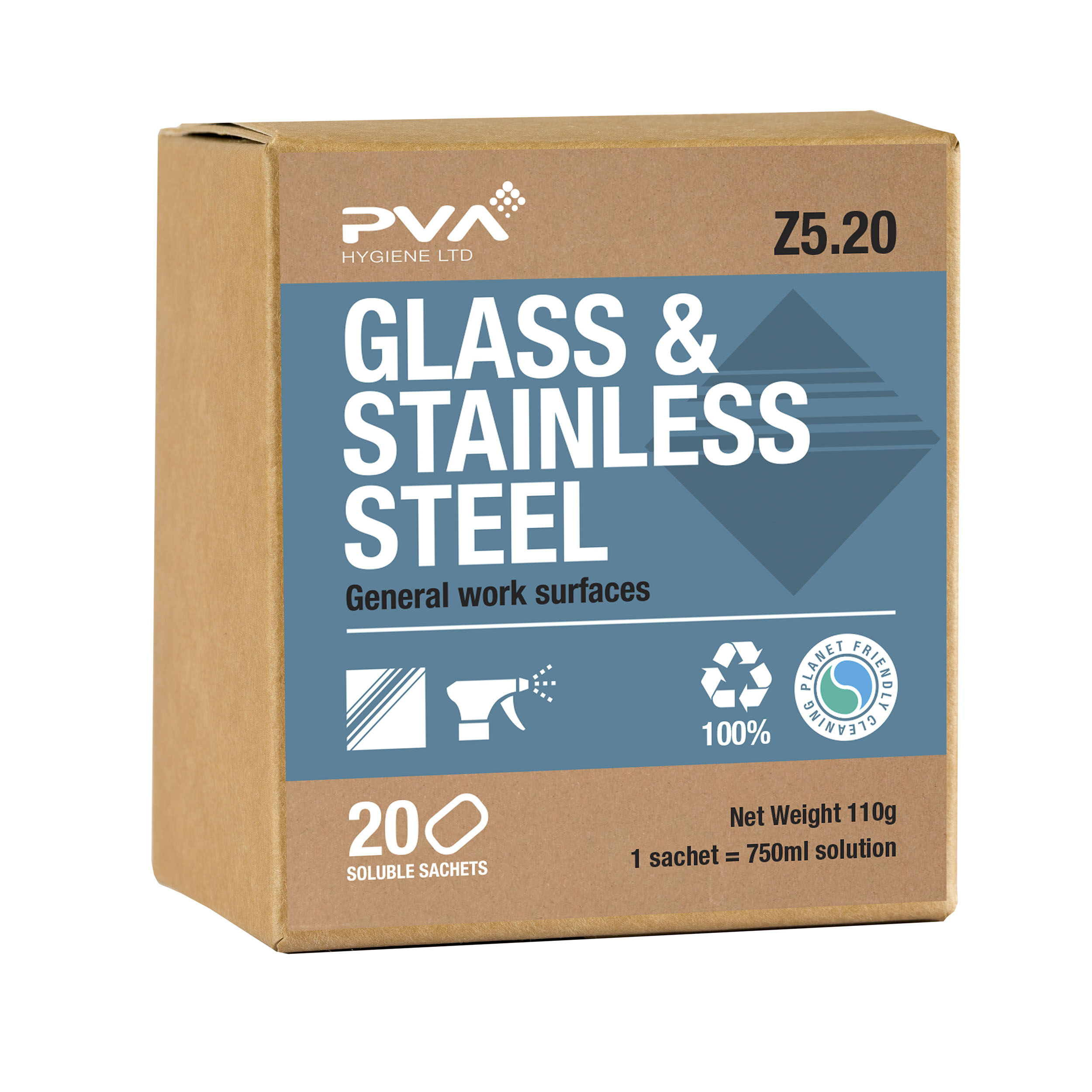 Cleaning Chemicals PVA Glass & Stainless Steel Cleaner Sachets Ref 4018018 [Pack 20]