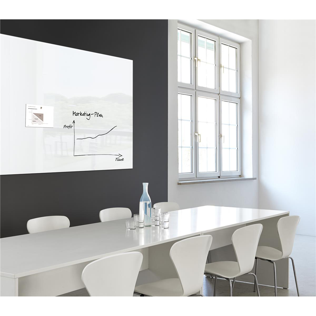 Sigel Artverum High Quality Tempered Glass Magnetic Board With Fixings 1800x1200mm White GL230