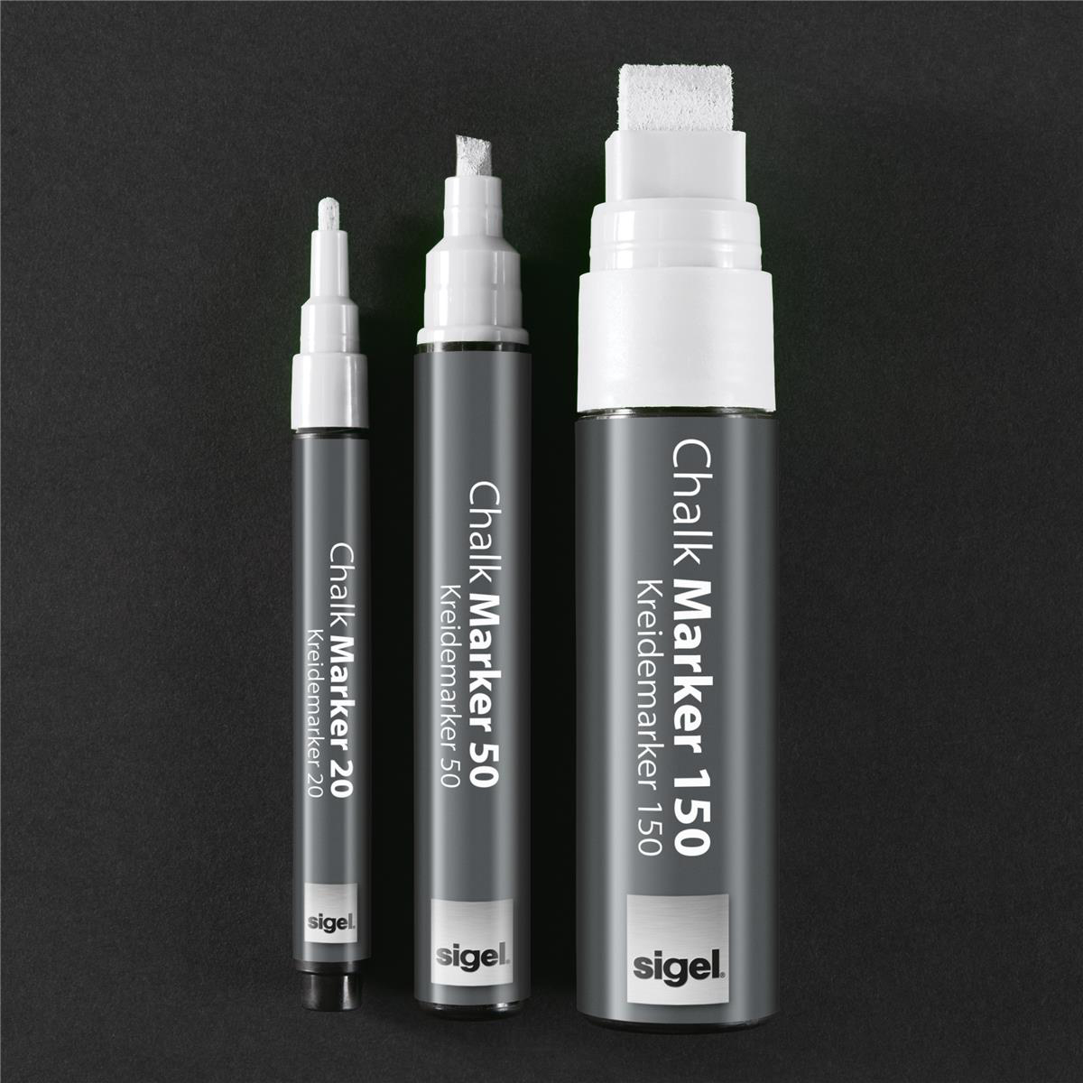 Sigel Chalk Marker Chisel Tip 1-5mm Line White