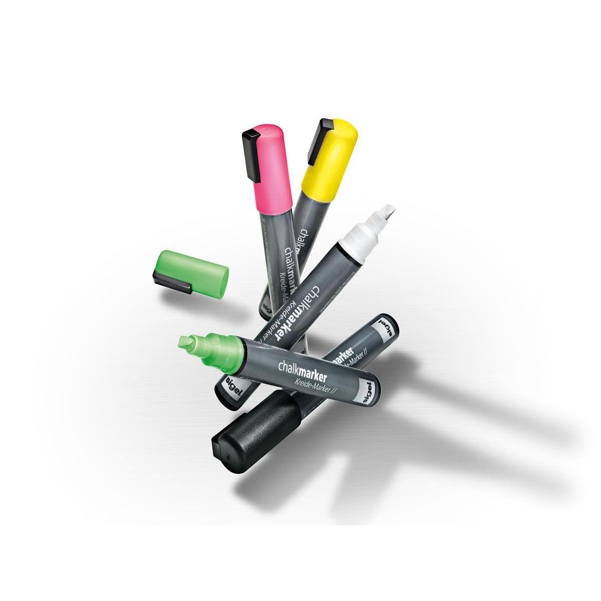 Sigel Chalk Marker Chisel Tip 1-5mm Line Flourescent Assorted Pack 3
