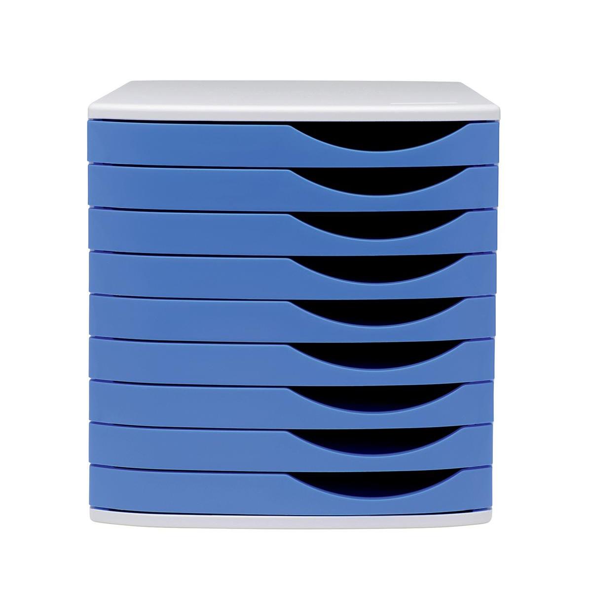 5 Star Elite Desktop Drawer Set 9 Drawers A4 & Documents up to 260x350mm Grey/Blue