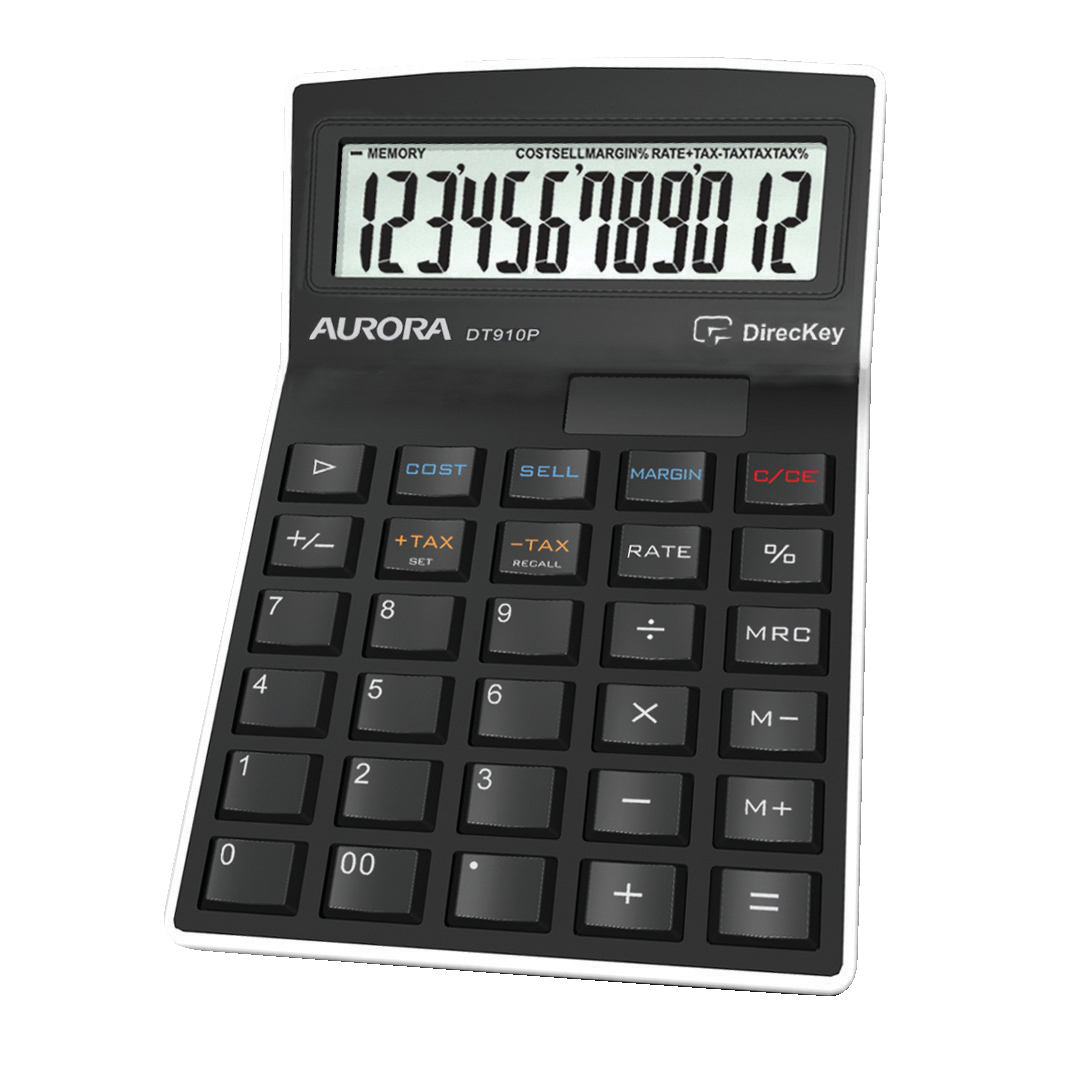 Aurora Semi-desk Calculator 12 Digit 3 Key Memory Battery/Solar Power 95x33x140mm Black Ref DT910PX