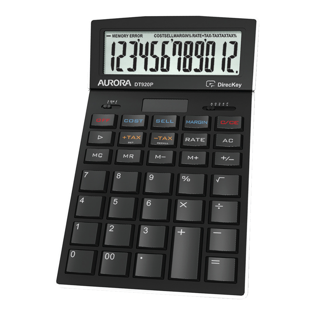 Calculators Aurora Desktop Calculator 12 Digit 4 Key Memory Battery/Solar Power 105x17x175mm Black Ref DT920PX