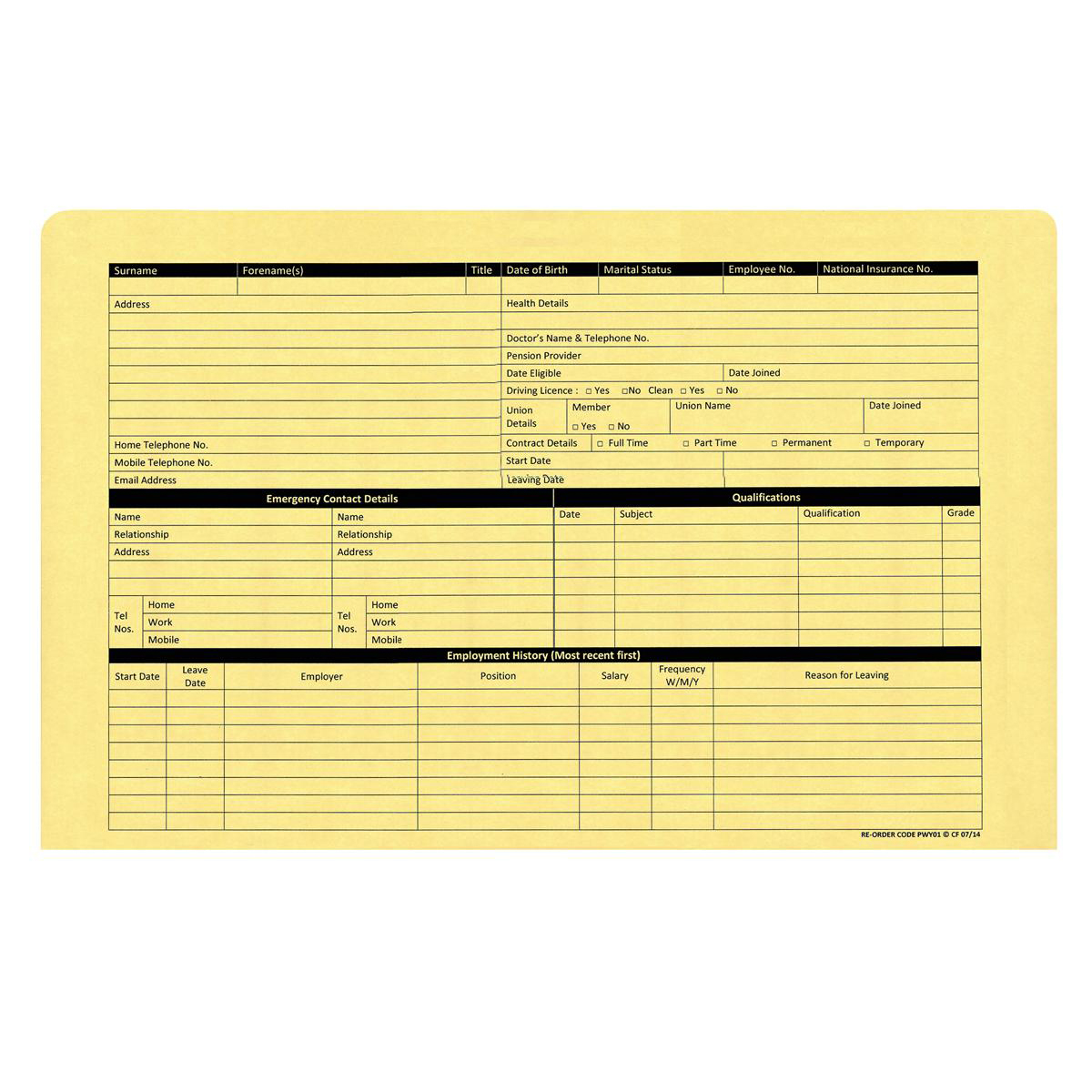 Personnel Wallets Pre-printed Yellow Pack 50
