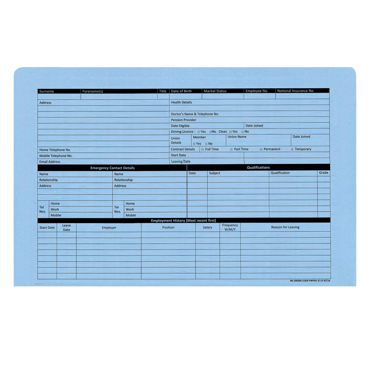 Personnel Wallets Pre-printed Blue Pack 50