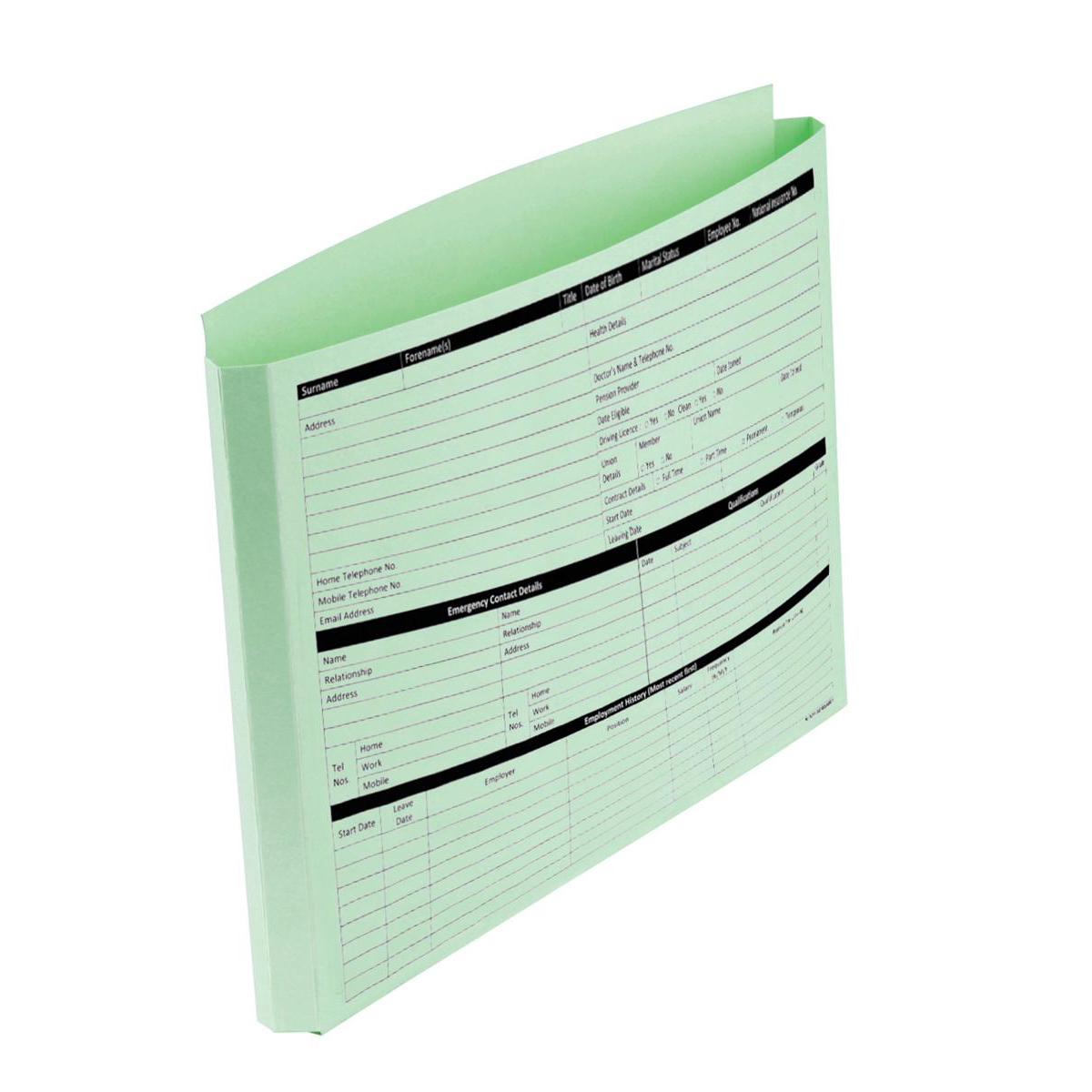 Personnel Wallets Pre-printed Extra Capacity Expandable Gusset Green Pack 50