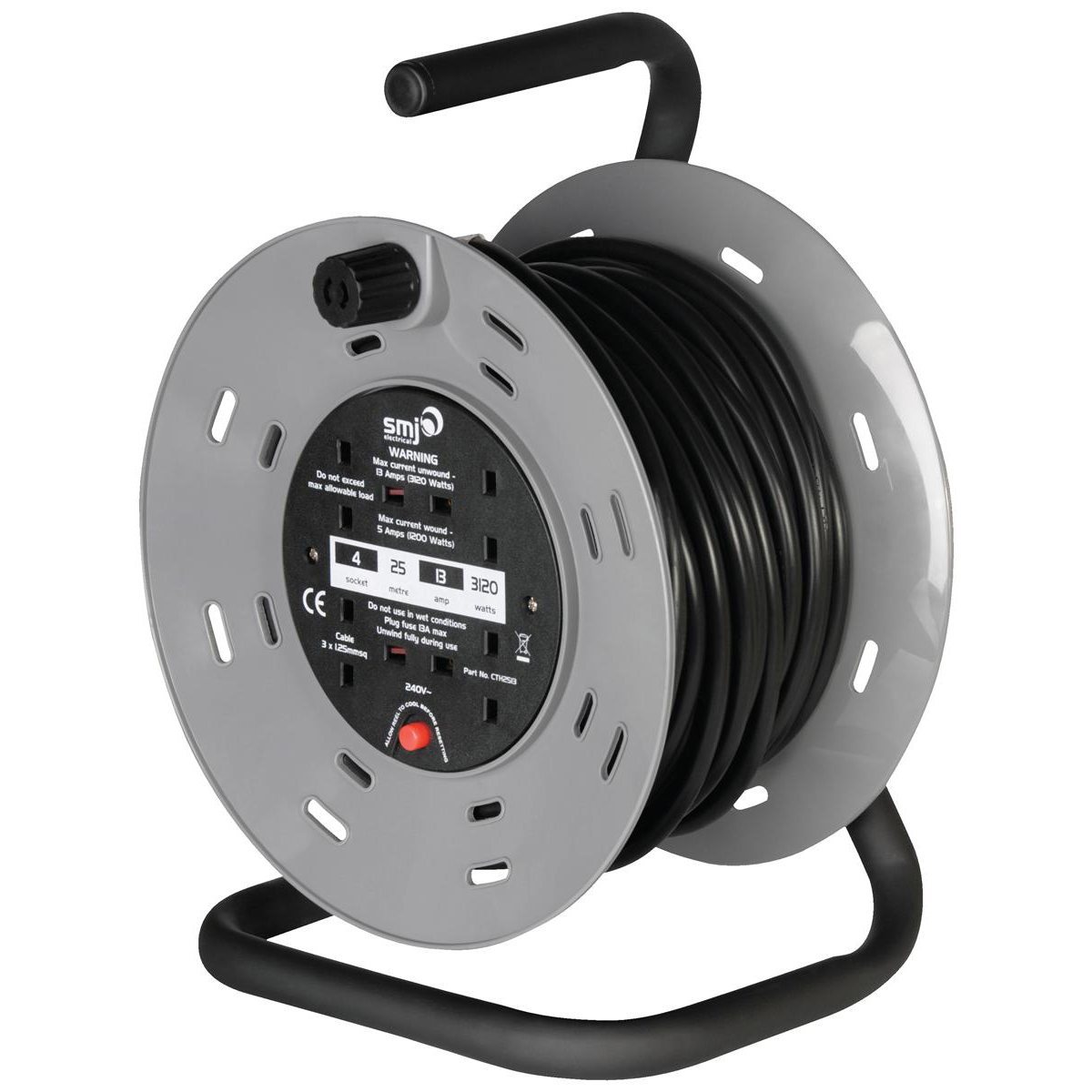 Cables & Adaptors Extension Reel 25 Metre 13 Amp 4 Socket with Carry Handle