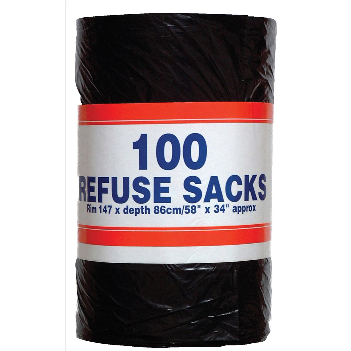 Big Value Refuse Sacks on a Roll 92 Litre Capacity 737x864mm Black Ref RY00365 Roll 100