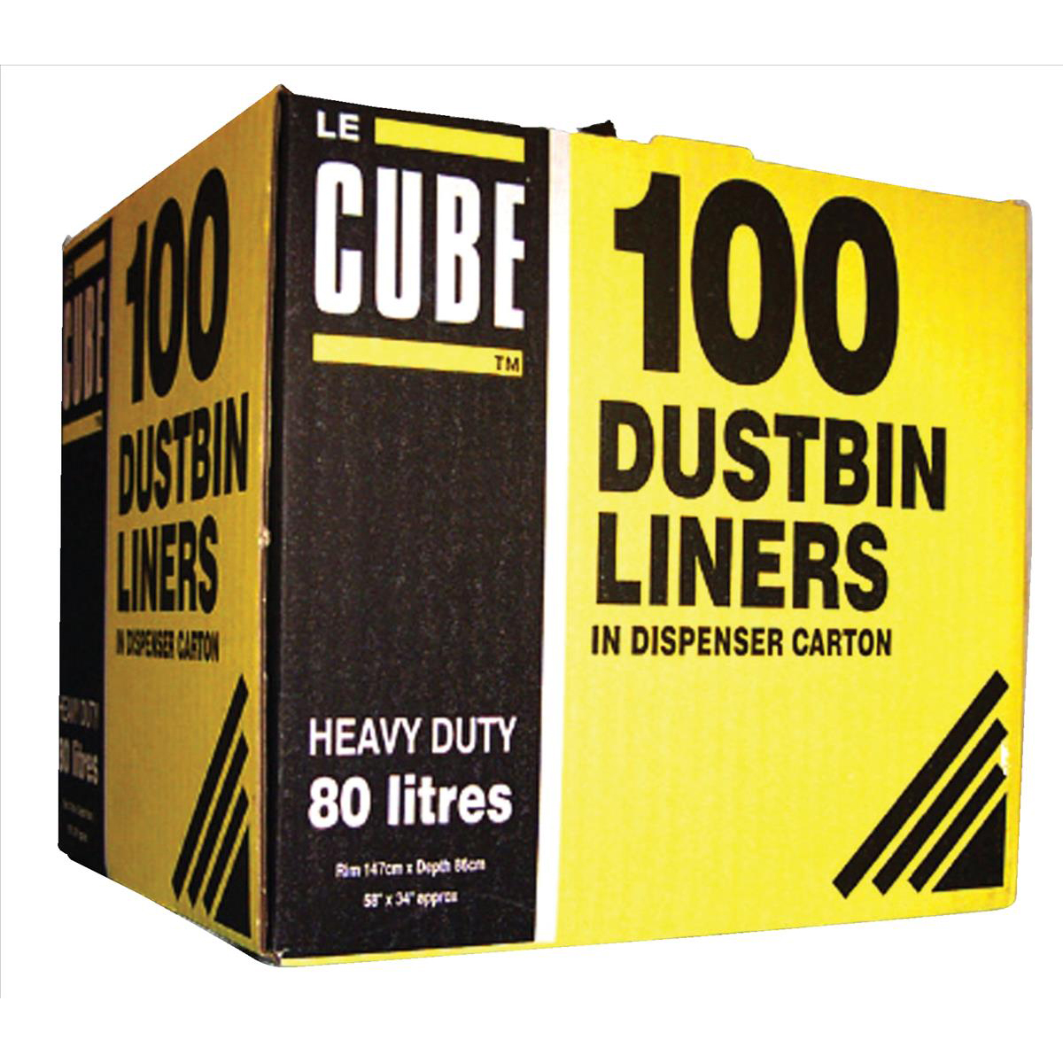 Bin Bags & Liners Le Cube Dustbin Liners in Dispenser Box 92 Litre Capacity 1474x864mm Black Ref RY00483 Pack 100