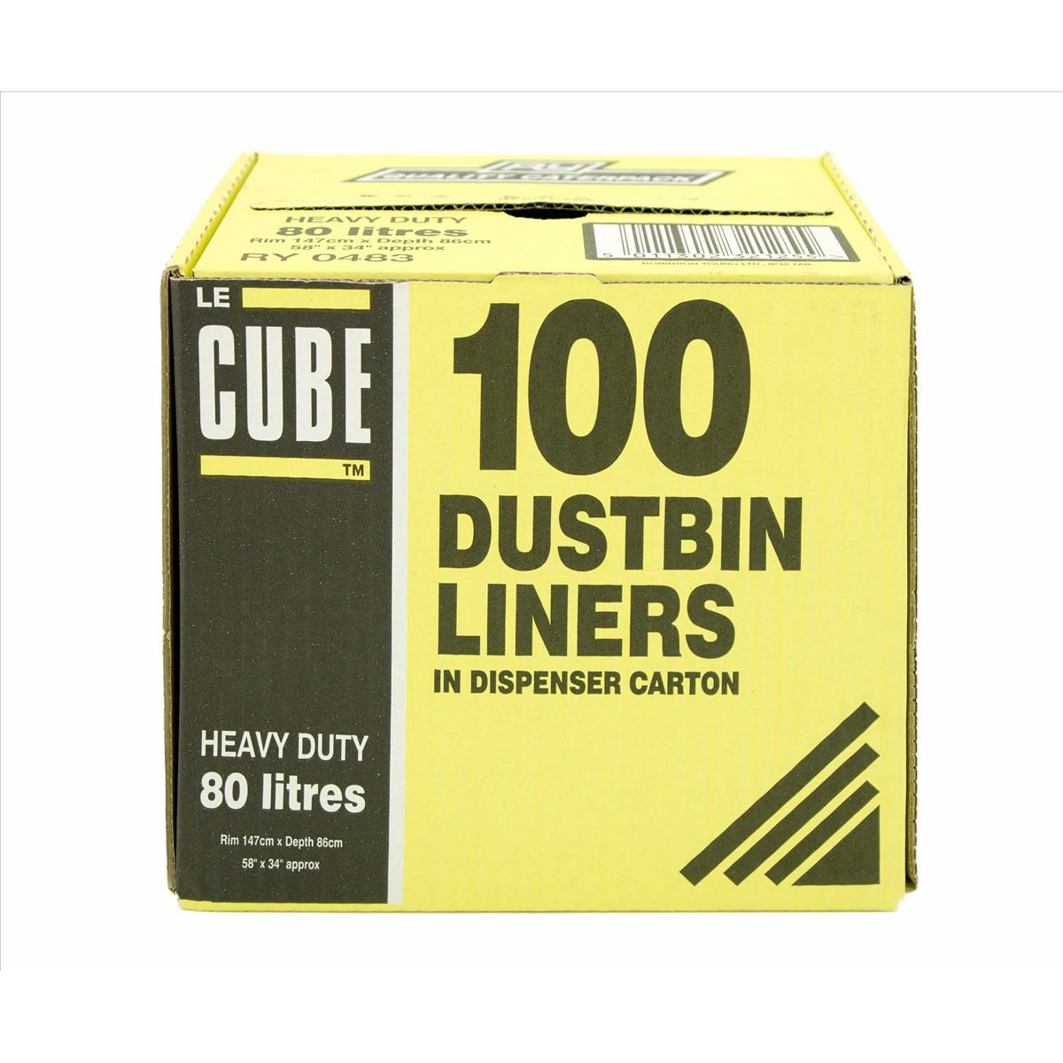 Le Cube Dustbin Liners in Dispenser Box 92 Litre Capacity 1474x864mm Black Ref RY00483 [Pack 100]