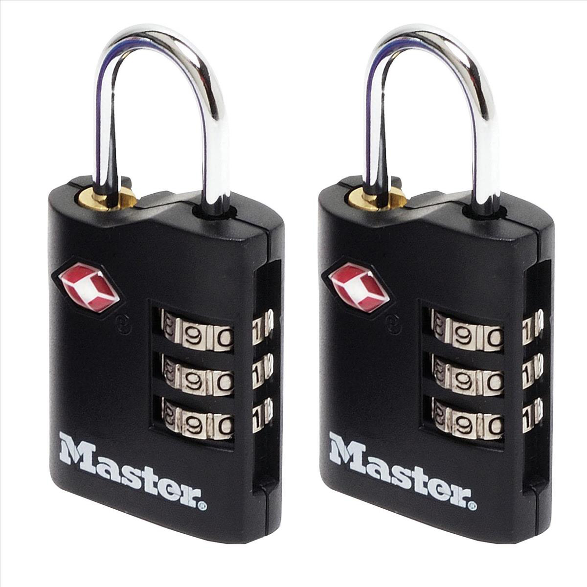 Padlocks Masterlock Combination Padlock TSA Certified Ref 4680DBLK Pack 2