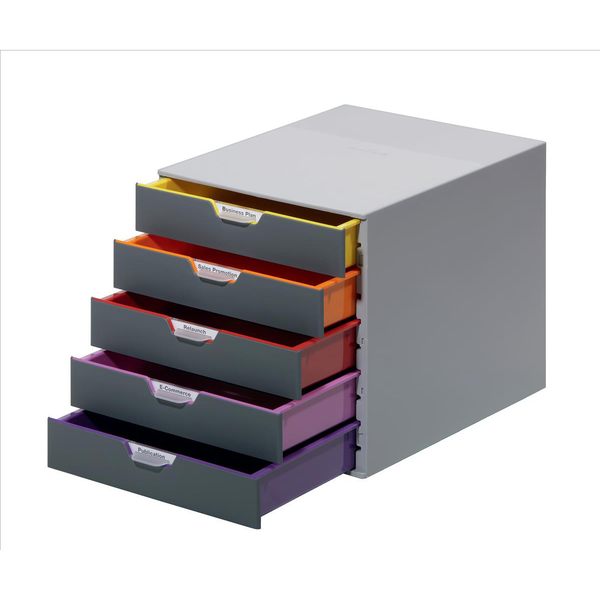 Industrial cabinets or drawers or shelving Durable Varicolor Plastic Desktop Drawer Set Stackable 5 Drawers A4 Ref 760527
