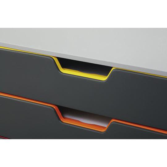 Durable Varicolor Plastic Desktop Drawer Set Stackable 5 Drawers A4 Ref 760527