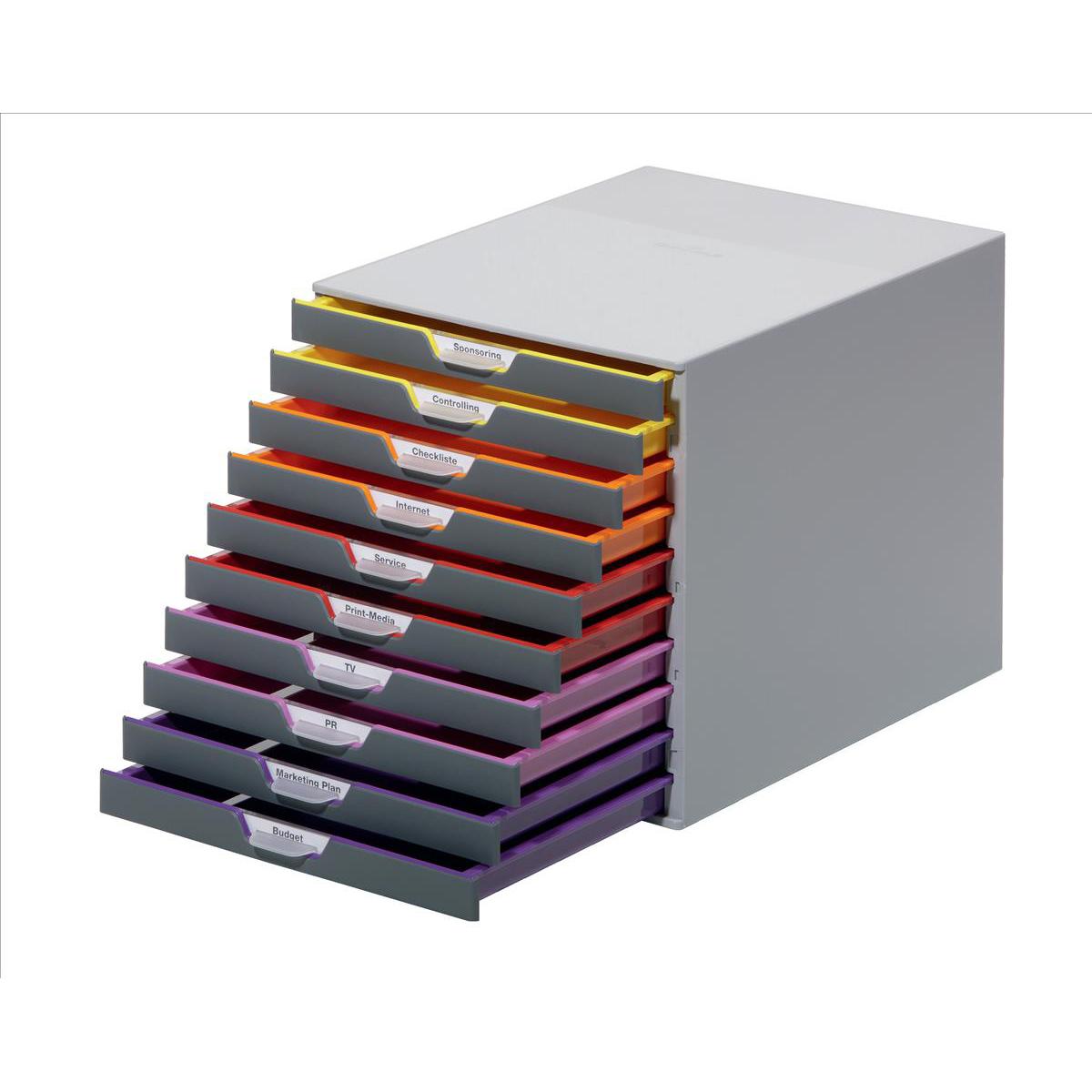 Image for Durable Varicolor Plastic Desktop Drawer Set Stackable 10 Drawers A4 Ref 761027