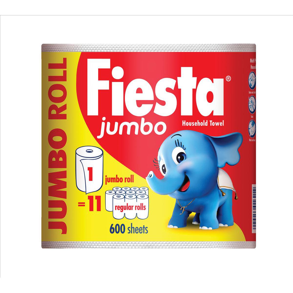Fiesta Kitchen Towel Jumbo Roll 600 Sheets White Ref M01387