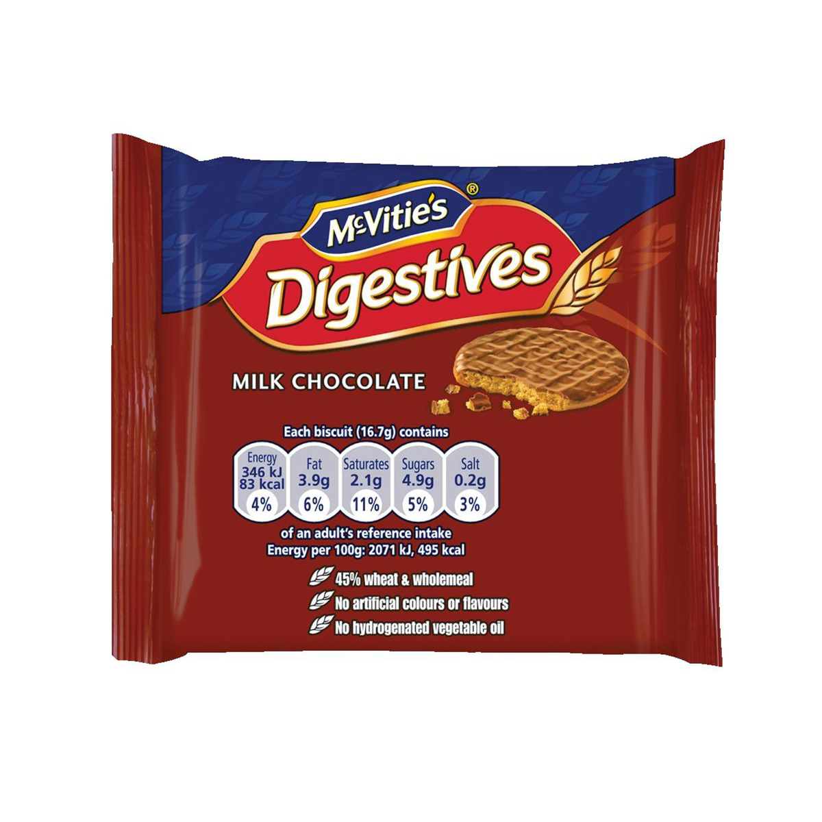 Biscuits McVities Milk Chocolate Digestives Biscuits Twinpack Ref 0401066 Pack 48