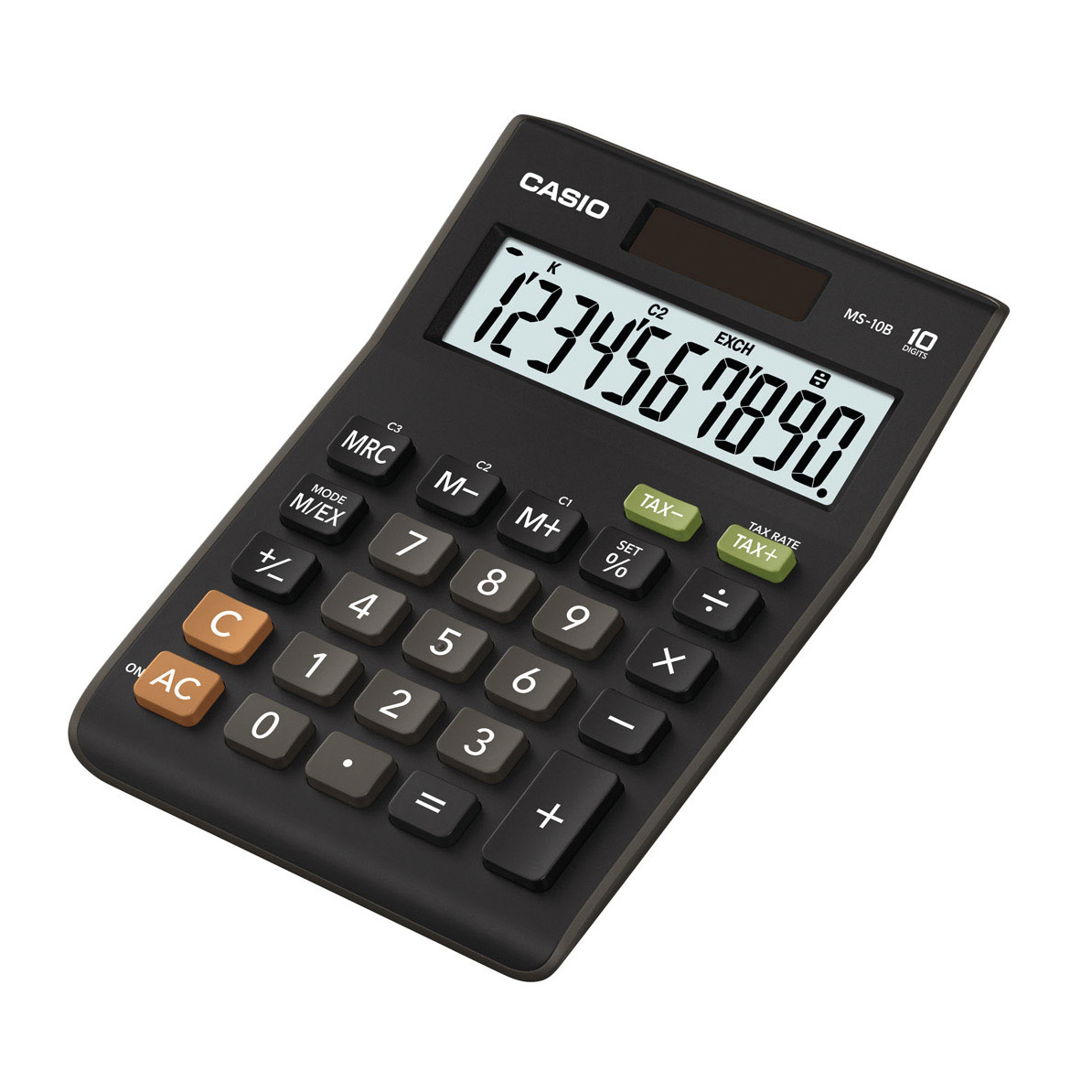 Calculators Casio Desktop Calculator 10 Digit 3 Key Memory Battery/Solar Power 103x29x147mm Black Ref MS-10B