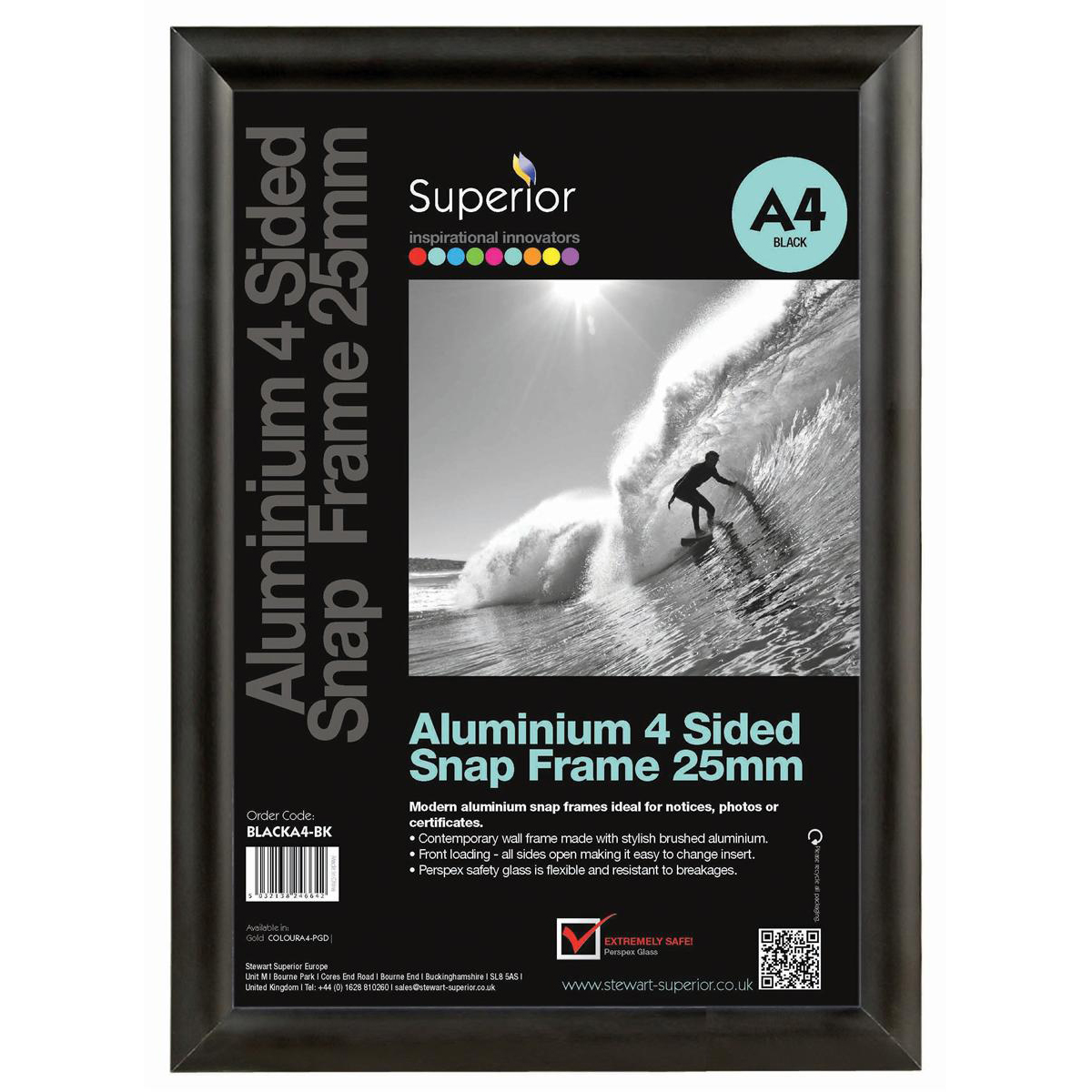 Snap Frame with Mounting Kit Aluminium with Anti-glare PVC Front-loading A4 297x210mm Black
