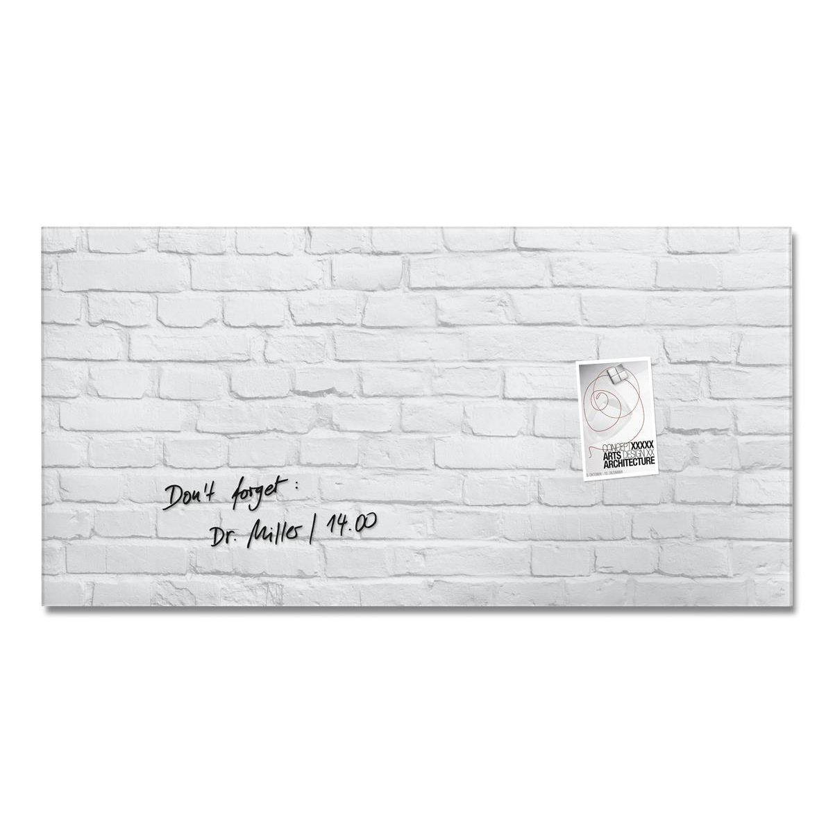 Sigel Artverum Tempered Glass Magnetic Board with Fixings 910x460mm White Brick Ref GL144