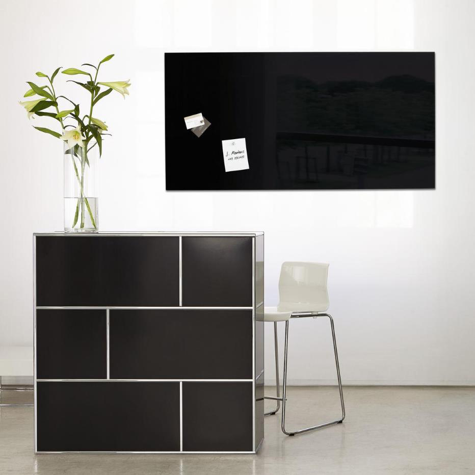 Sigel Artverum Tempered Glass Magnetic Board with Fixings 1300x550mm Black Ref GL240