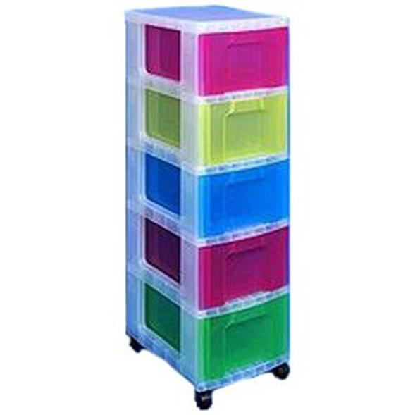 Storage Boxes Really Useful Storage Tower Polypropylene 5x12L Drawers W300xD420xH1005mm Clear/Assorted Ref DT1-9214