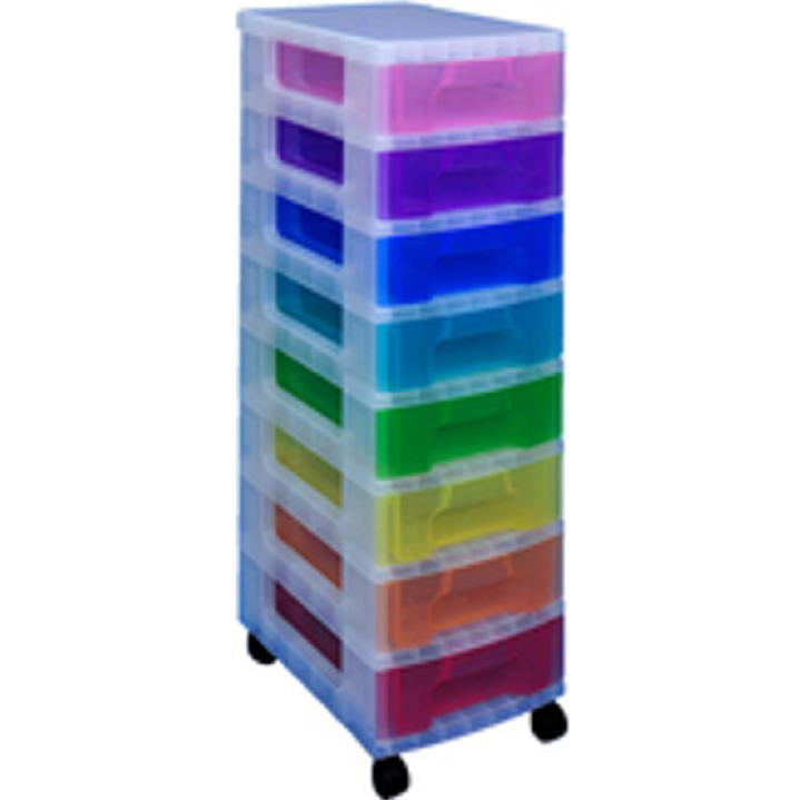 Tool Boxes Really Useful Storage Tower Polypropylene 8x7L Drawers Clear/Assorted Ref DT1007