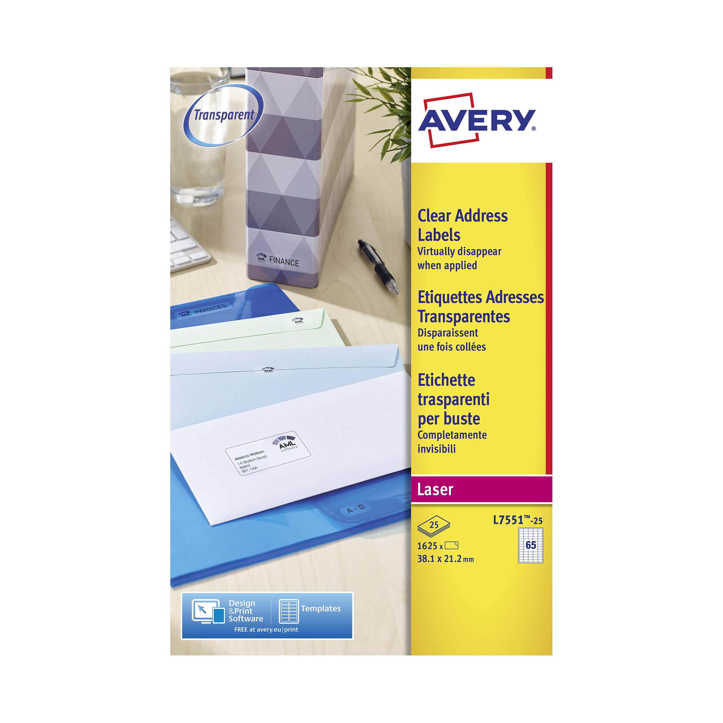 Address Avery Mini Address Labels Laser 65 per Sheet 38.1x21.2mm Clear Ref L7551-25 1625 Labels