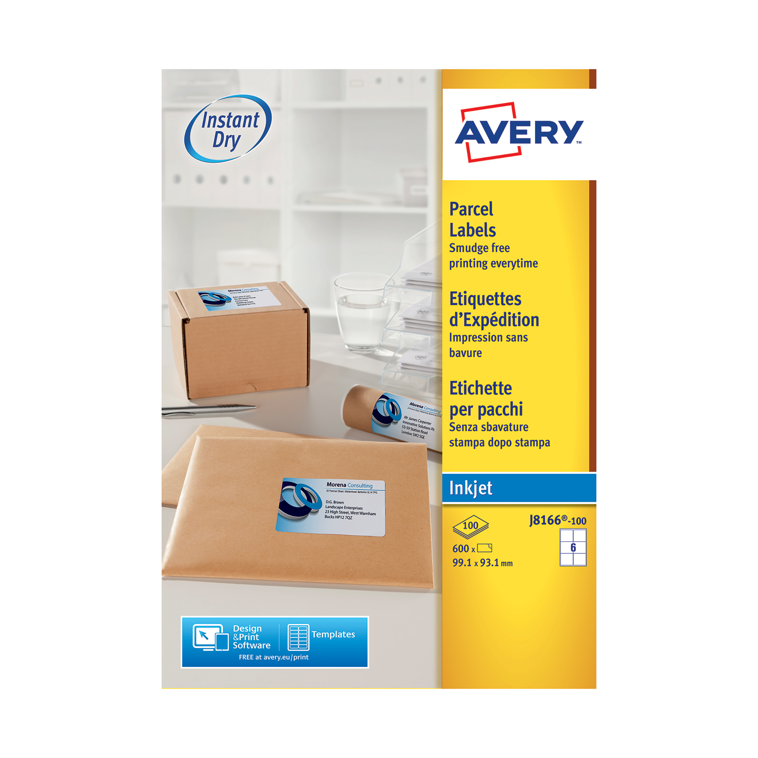 Avery Quick DRY Parcel Labels Inkjet 6 per Sheet 99.1x93.1mm White Ref J8166-100 600 Labels