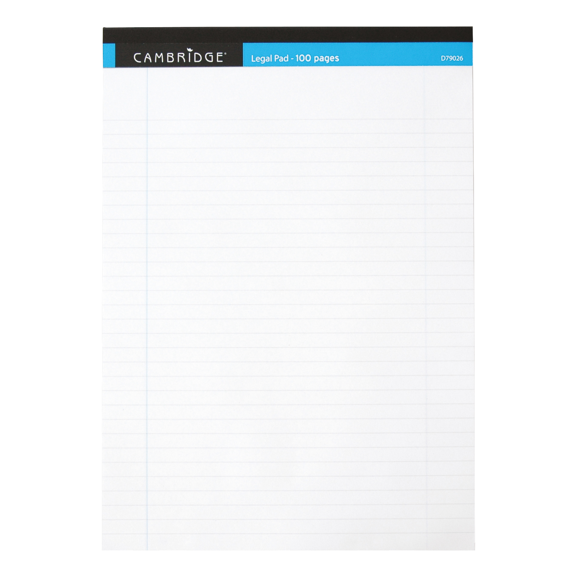 Books & Pads Cambridge Legal Pad Headbound Ruled Margin Perforated 100pp A4 White Paper Ref 100080159 Pack 10