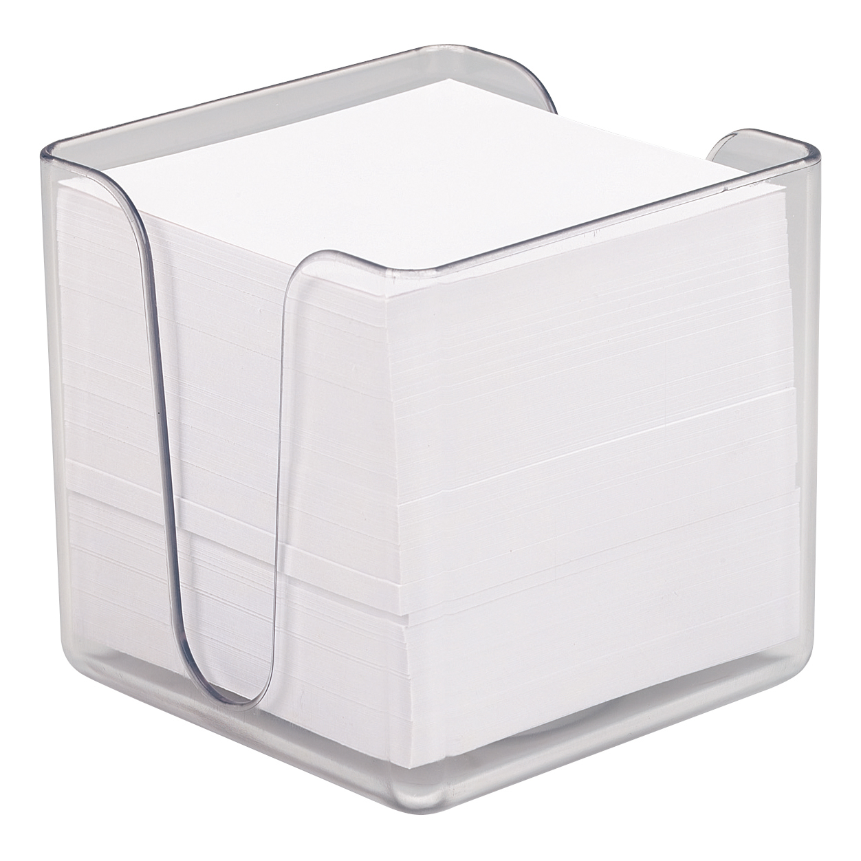 Desk Tidies 5 Star Office Noteholder Cube Transparent with Approx. 750 Sheets of Plain Paper 90x90mm White