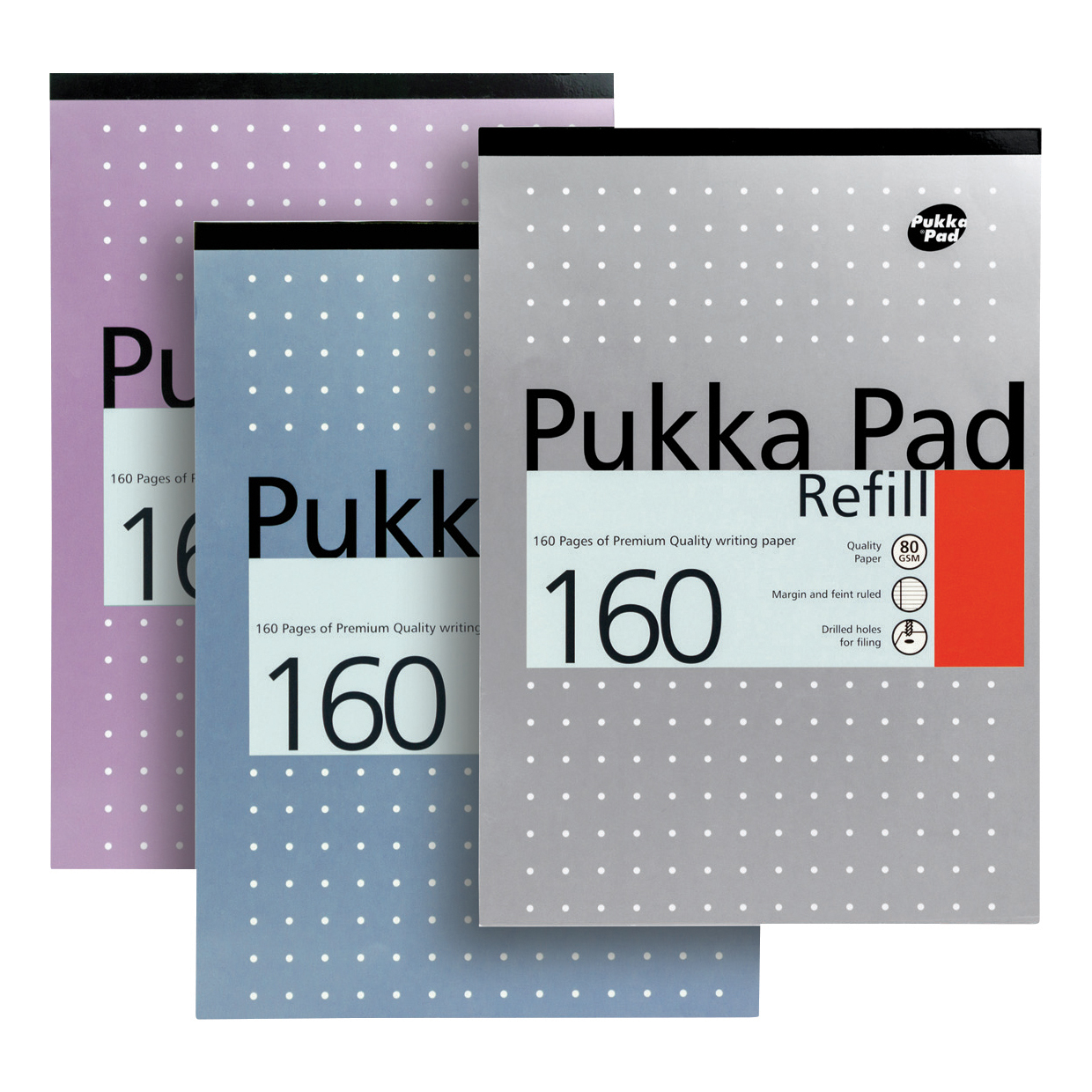 Pukka Pad Refill Pad Headbound 80gsm Ruled Margin Punched 4 Holes 160pp A4 Assorted Ref REF80/1 [Pack 6]