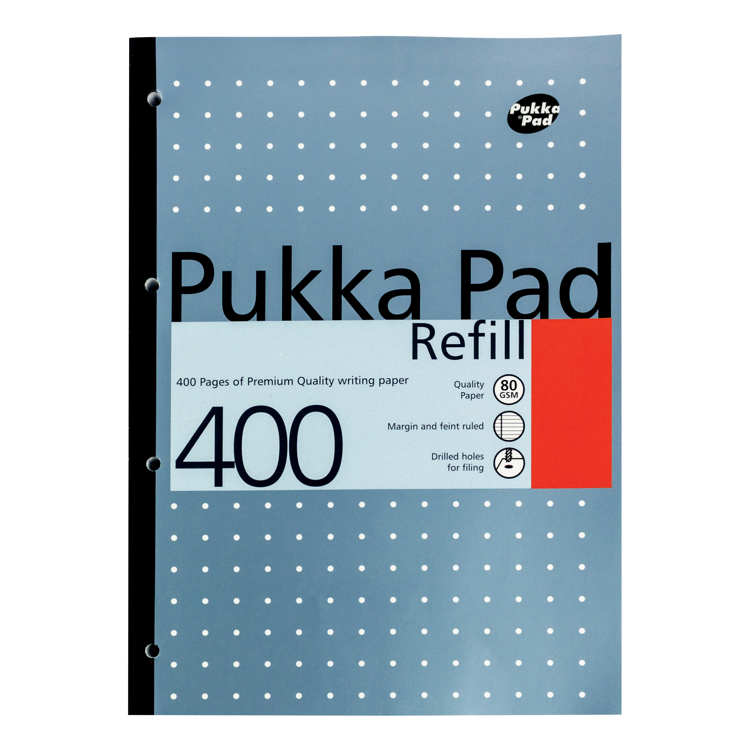 Pukka Pad Refill Pad Sidebound 80gsm Ruled Margin Punched 4 Holes 400pp A4 Assorted Ref REF400 Pack 5