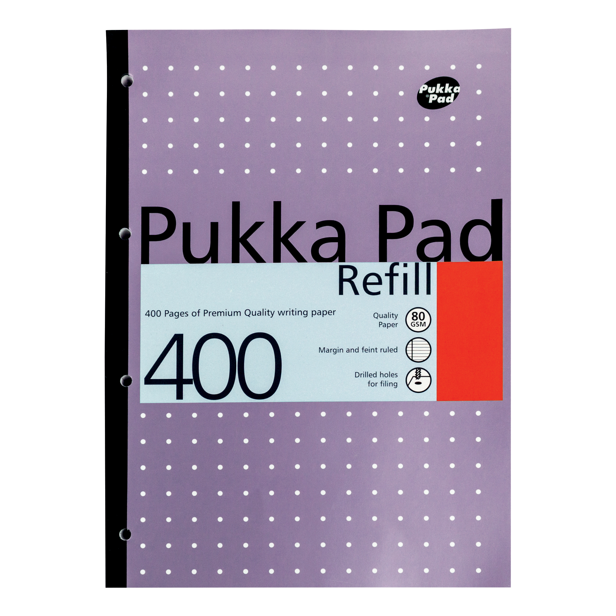 Pukka Pad Refill Pad Sidebound 80gsm Ruled Margin Punched 4 Holes 400pp A4 Assorted Ref REF400 [Pack 5]