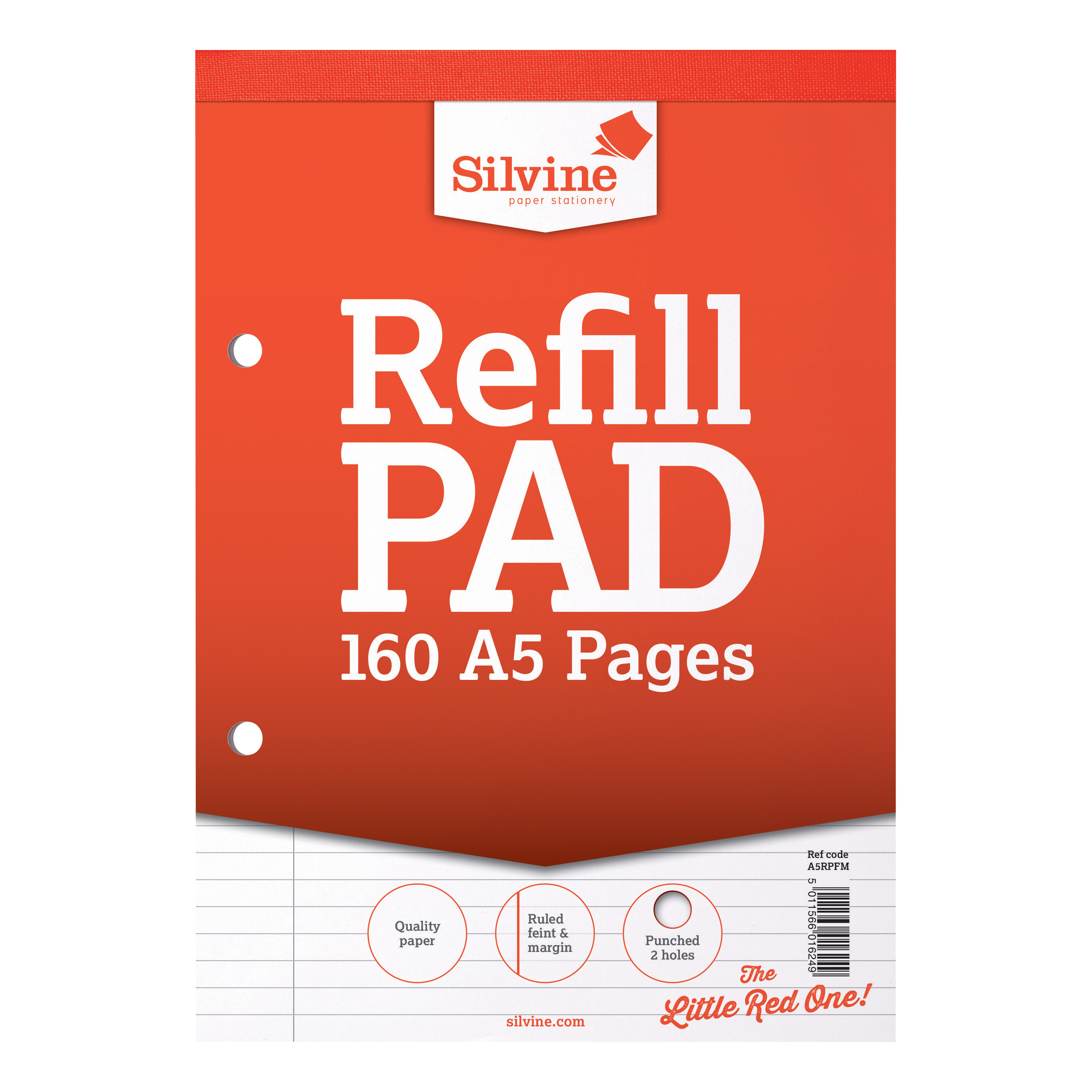 Silvine Refill Pad Headbound 75gsm Ruled Margin Perf Punched 2 Holes 160pp A5 Red Ref A5RPFM Pack 6
