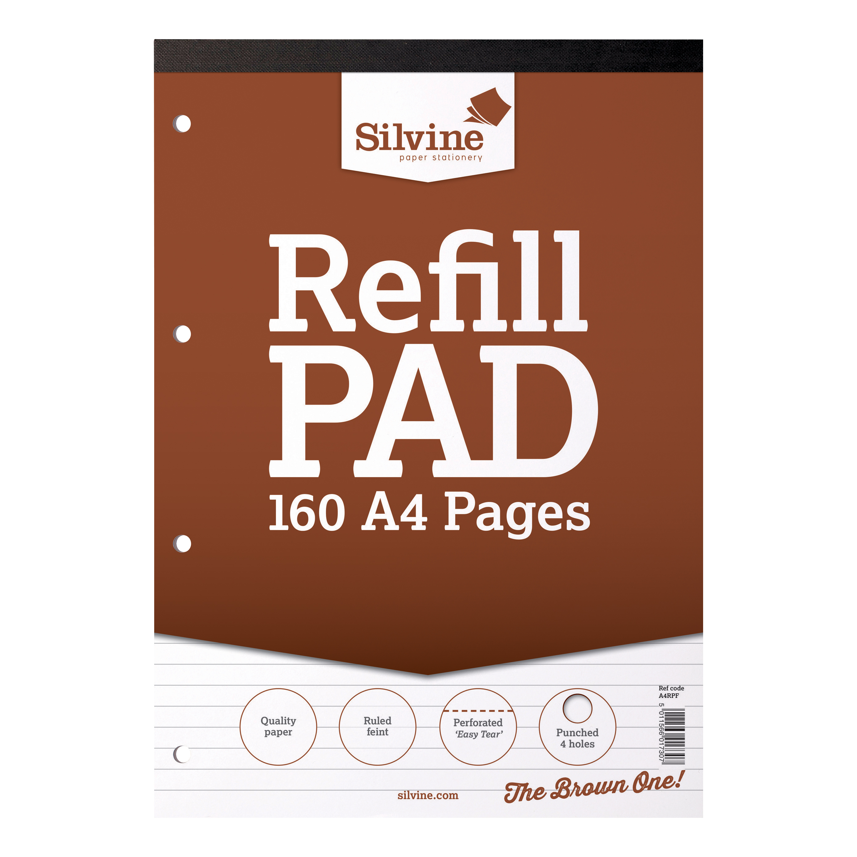 Silvine Refill Pad Headbound 75gsm Ruled Perforated Punched 4 Holes 160pp A4 Brown Ref A4RPF Pack 6